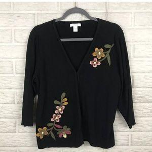 🌸 Dressbarn Embroidered Cardigan Sweater Plus